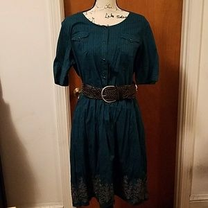 NWOT green Stetson button up shirt dress